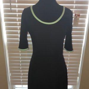 Lularoe Ana black dress with aqua trim Medium